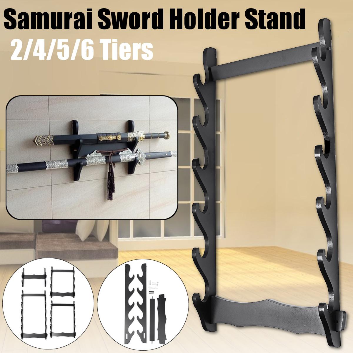 1/2/3/4/5/6 Tier Holder Wall Mount Samurai Stand Display Katana Hanger Rack Support 1