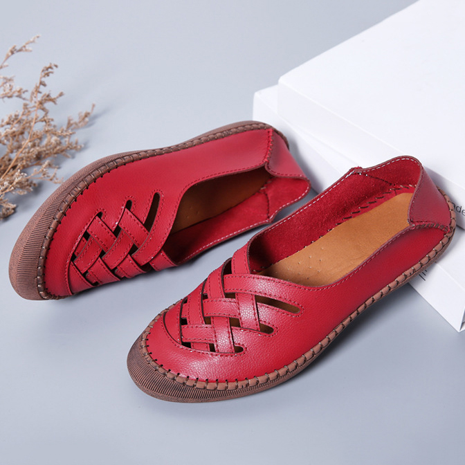 Women Genuine Leather Breathable Plus Size Casual Flats