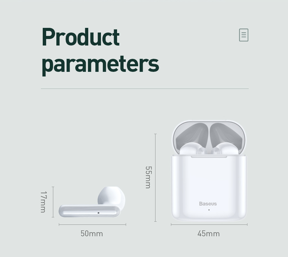 Baseus Encok W09 TWS Wireless Earbuds bluetooth 5.0 Earphone Touch Control Bass Stereo Hands Free Headphone for iPhone Xiaomi Huawei