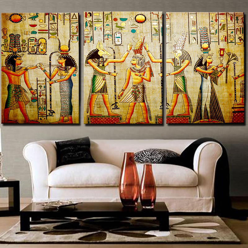Miico Hand Painted Three Combination Decorative Paintings Cleopatra Portrait Wall Art For Home Decoration