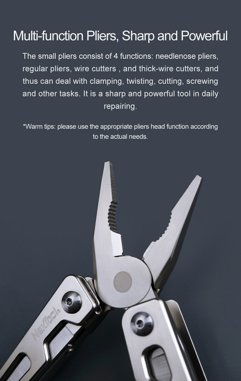 [Upgraded Version] NEXTOOL 10 IN 1 DIY Multitool Wrench Pliers Tool Foldable EDC Ruler with Bits For Survival From Xiaomi Youpin