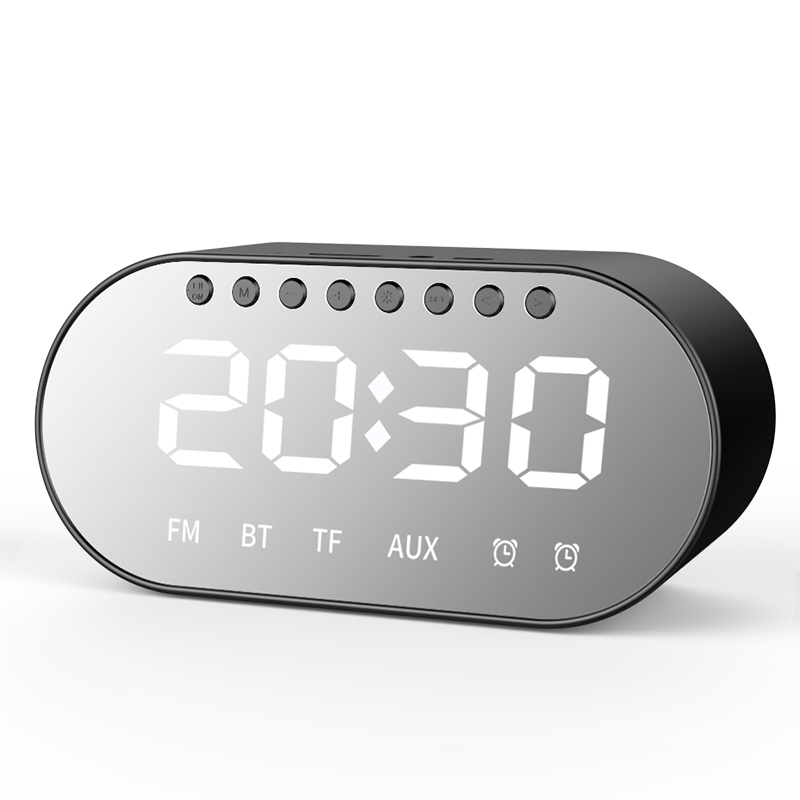 Bakeey T1 Wireless bluetooth Speaker Dual Drivers Dual Alarm Clock LED Display FM Radio TF Card Heavy Bass Stereo Speaker with Mic