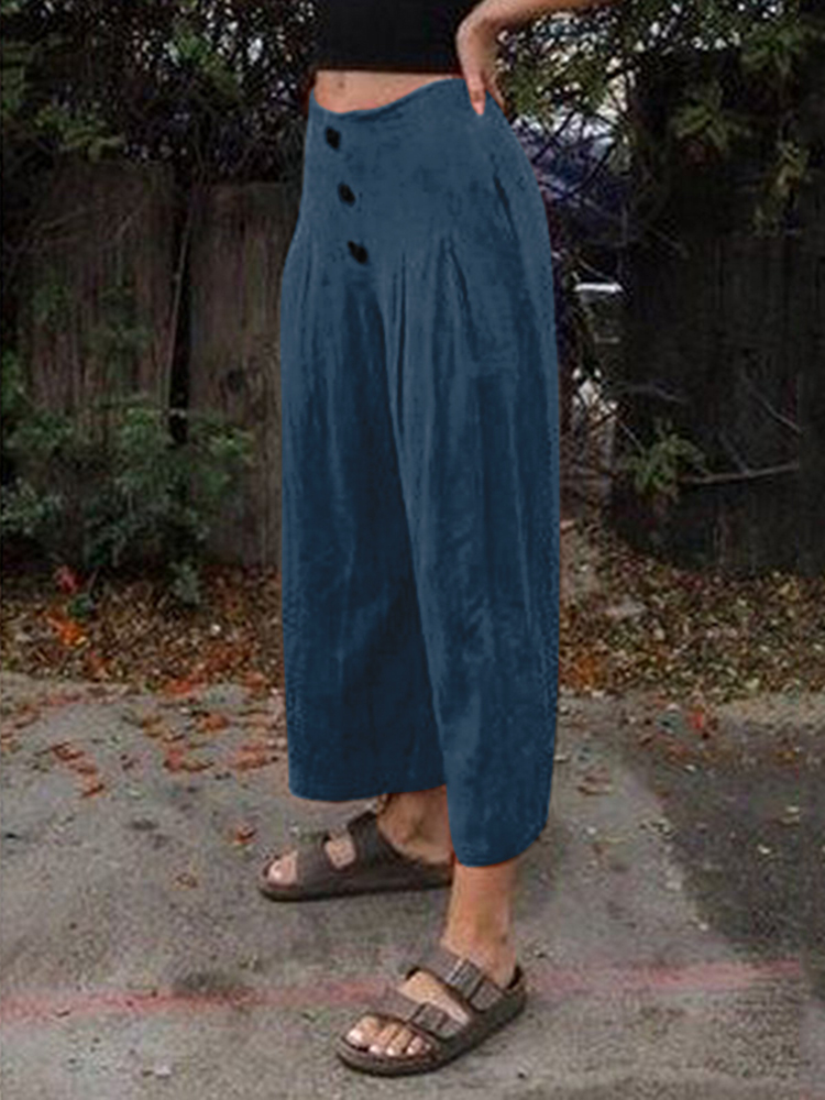 Wide Legged Women Casual Loose Pure Color Side Pockets Pants