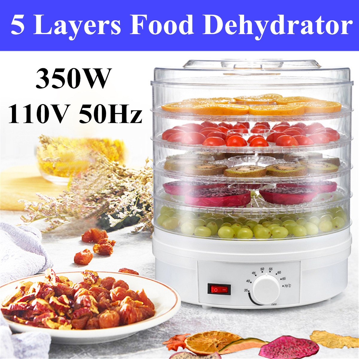 110V 350W 5 Trays Food Vegetable Dehydrator Fruit Meat Dryer Drying Machine 17