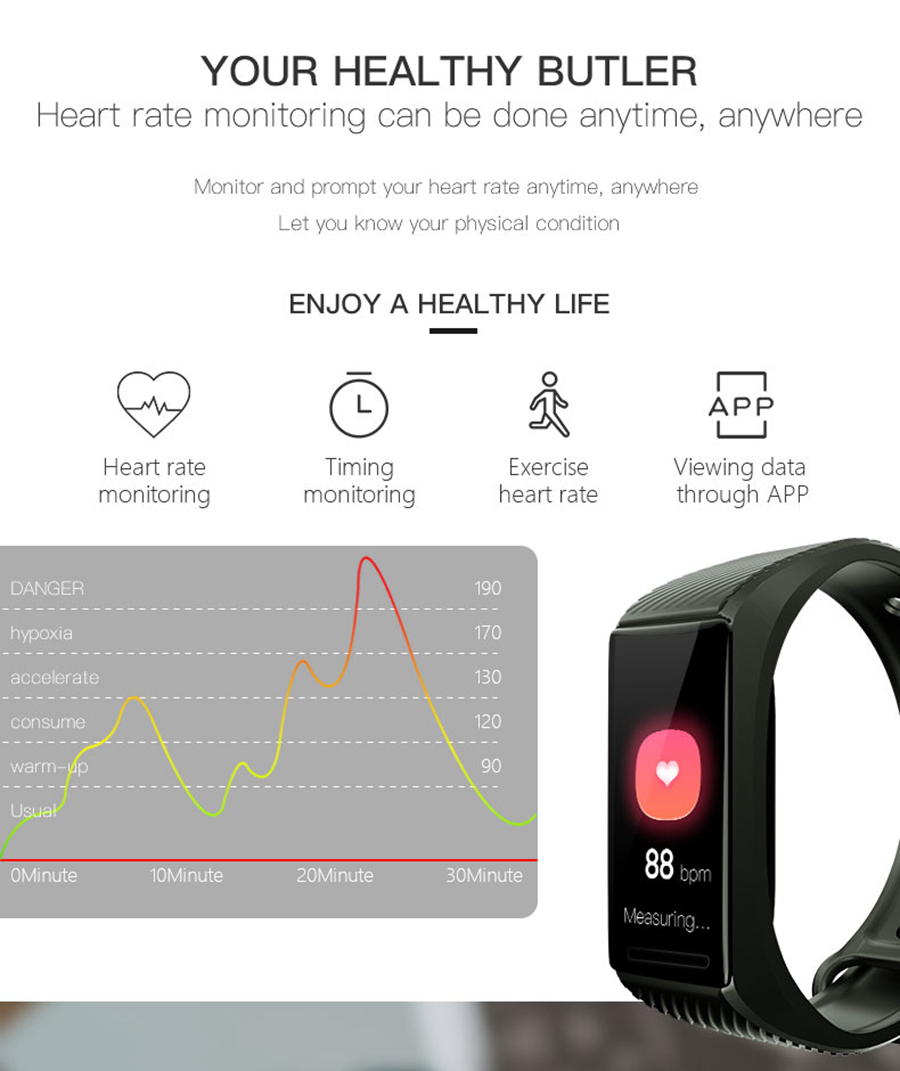 Bakeey TD18 24H Continuous Heart Rate O2 8 Sports Mode 15Days Standby USB Charging Smart Watch Band