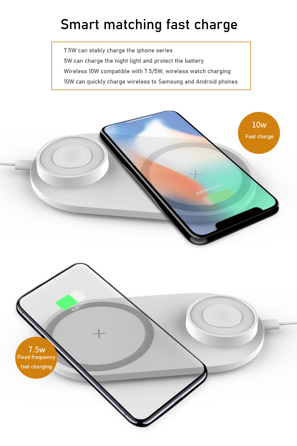 Bakeey 3 In 1 10W 7.5W 5W Night Light Indication Lamp Fast Charging Wireless Charger For iPhone XS 11 Pro Huawei P30 Pro Watch 5 Headset 12