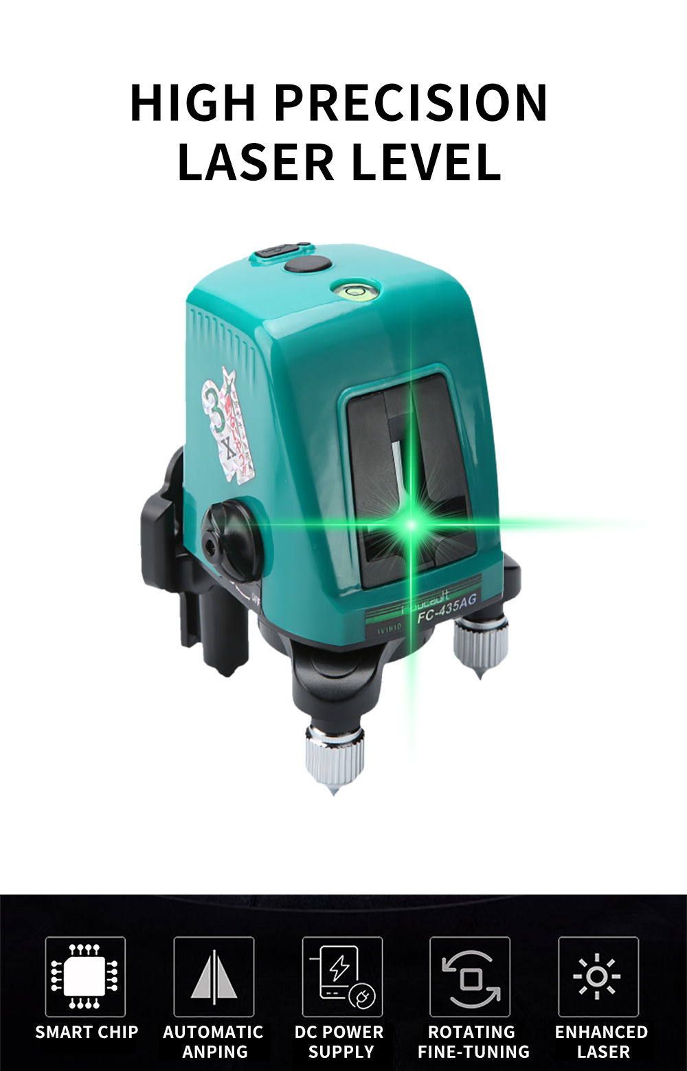 Foucault FC-435AG Mini Infrared Laser Level with Oblique Function Line Projector 2 Line 1 Brightening Point Green Light 10