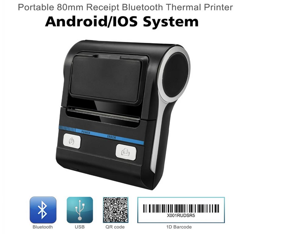 Milestone MHT-P8001 80mm Thermal Printer bluetooth POS Receipt Bill Printer  Printing Machine for Android IOS Windows