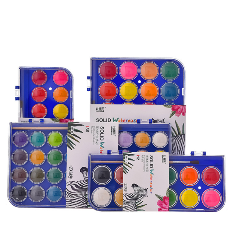 12/16/28/36 Colors Solid Watercolor Paint Set Hand Painted Watercolor Pigment Art Painting Tools Supplies