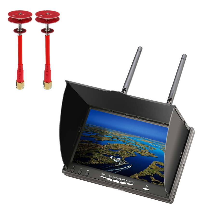 Eachine LCD5802D 5802 800*480 7 Inch 5.8G 40CH FPV Diversity Monitor with DVR Build-in Battery + Realacc 5.8Ghz Pogoda LHCP/RHCP Antenna