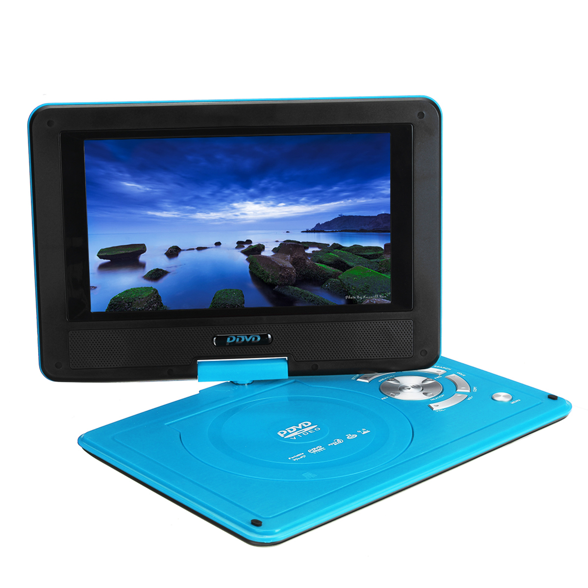 9.8 Inch Portable Car Rechargeable DVD Player Game Video Controller 270° Swivel Screen – Black