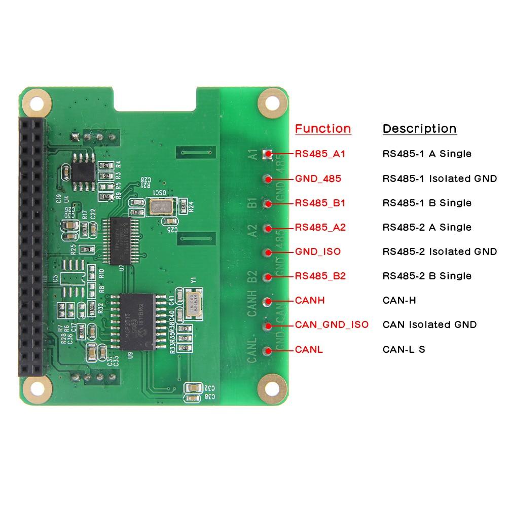 RS485 & CAN Shield Expansion Board for Raspberry Pi 4 Model  B/3B+/3B/2B/Zero/Zero W