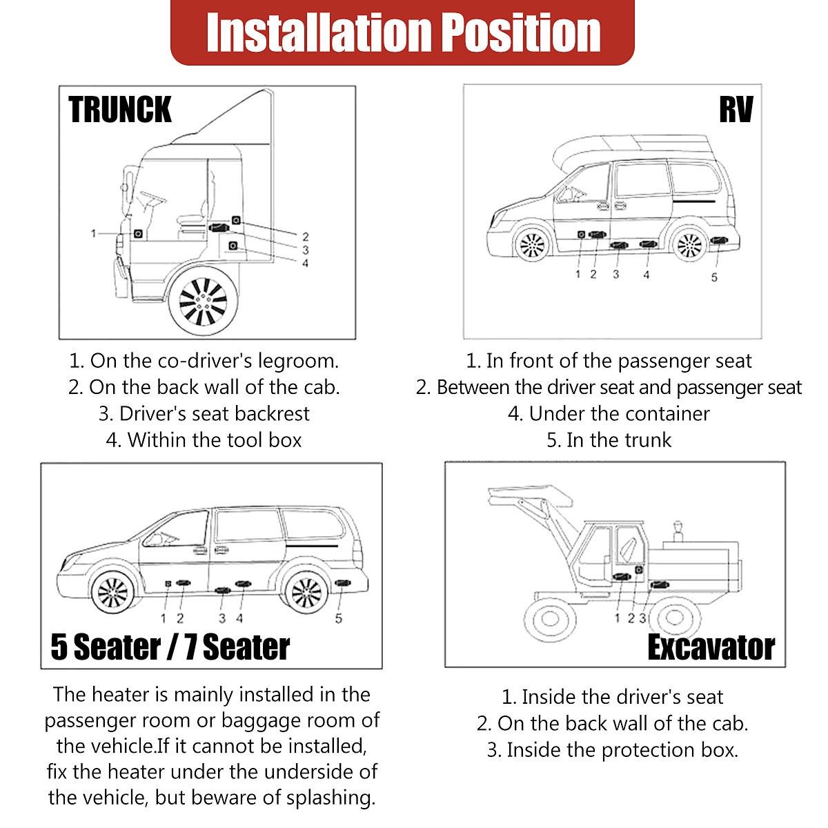 Air Heater Diesel Fuel Cabin Air Heater Kit Fuel Diesel Parking Pump Parking Heater 1-8KW 12V Air Diesels Heater for Car Truck Battery Vehicles