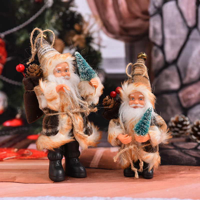 Xmas Stand Santa Claus Doll Toy Home Christmas Tree Hanging Decoration For Christmas Gift
