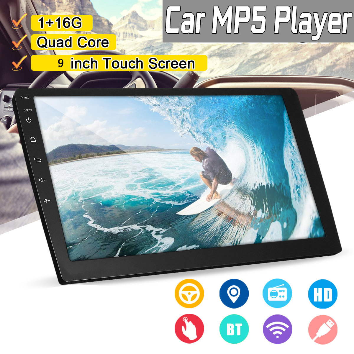 9 Inch 2 DIN 1+16G Car MP5 Player Quad Core Stereo Radio IPS Touch Screen bluetooth DAB DVR 11