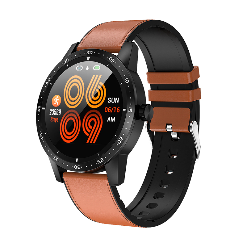 Bakeey T5 1.22inch Full-touch Round Screen Female Health Track Heart Rate Blood Pressure Monitor Smart Watch
