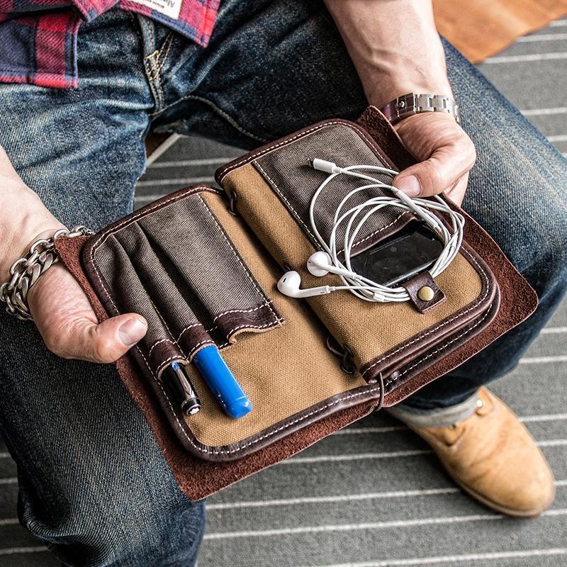 Men Vintage Card Holder Solid Phone Bag Business Long Wallet