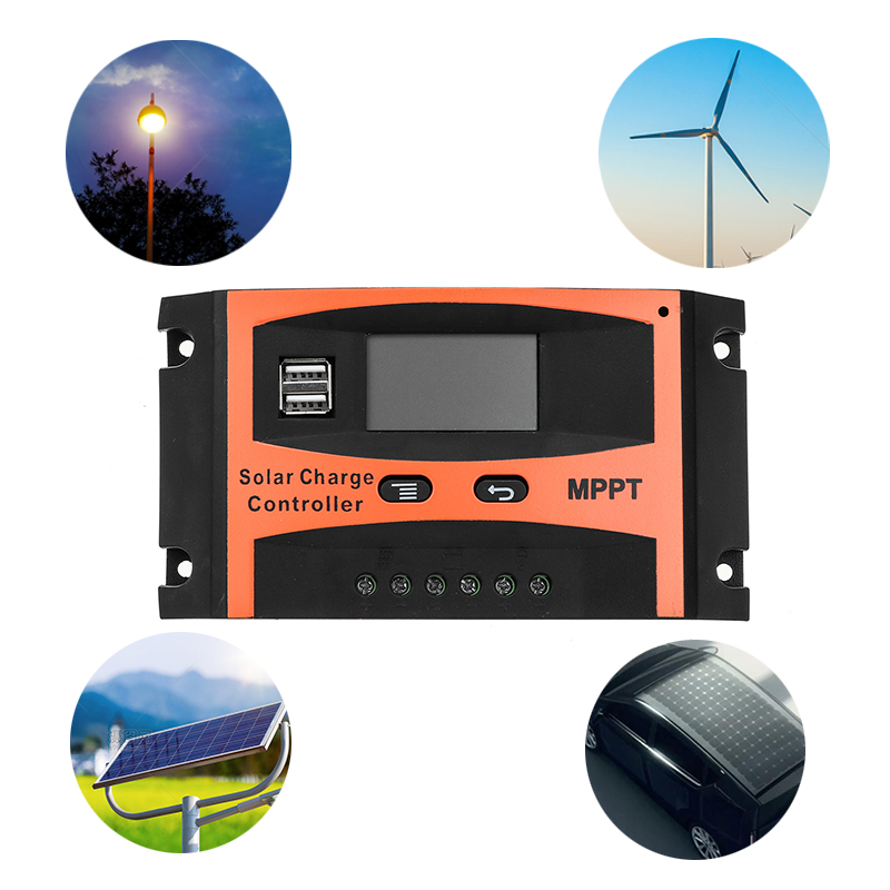 30A/40A/50A/60A MPPT Solar Charge Controller 12V/24V LCD Accuracy Dual USB Solar Panel Battery Regulator Built-in Timer 21