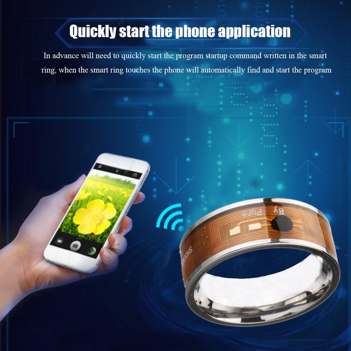 Синий NTAG213 NFC Tag Ring Многофункциональный Интеллектуальное Кольцо Титана Стали Smart Wear Палец Цифровые Кольца для Мужчин Женское