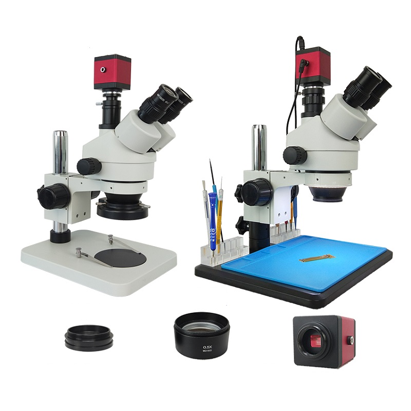 Efix 3.5-45X 13MP Trinocular Stereo Soldering Microscope Stand Lens Digital Camera for Repair Mobile Phone Tools Kits