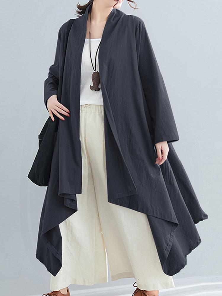 Пальто женское с длинным рукавом в стиле кардиганы