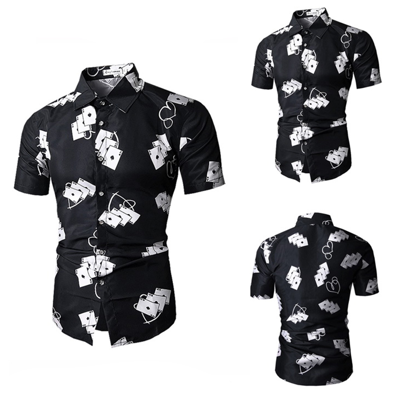 3D Pokers Printing Casual Business Slim Designer Shirts