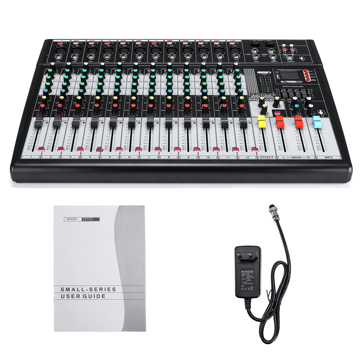 12 Channel bluetooth Live Studio Audio Mixer Mixing Console USB XLR 48V Phantom EU Power Plug