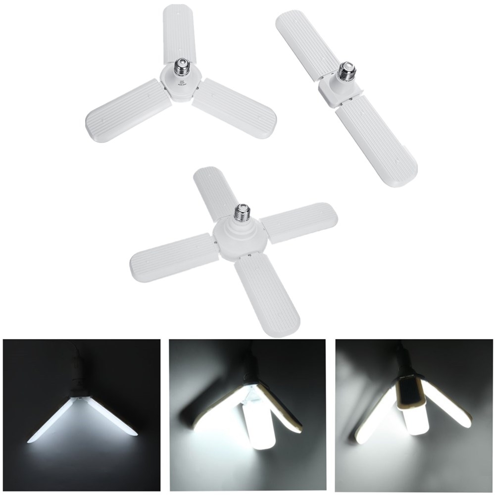 E27 Two Three Four Leaves Deformable Foldable LED Garage Shop Work Light Bulb Ceiling Lamp AC95-265V