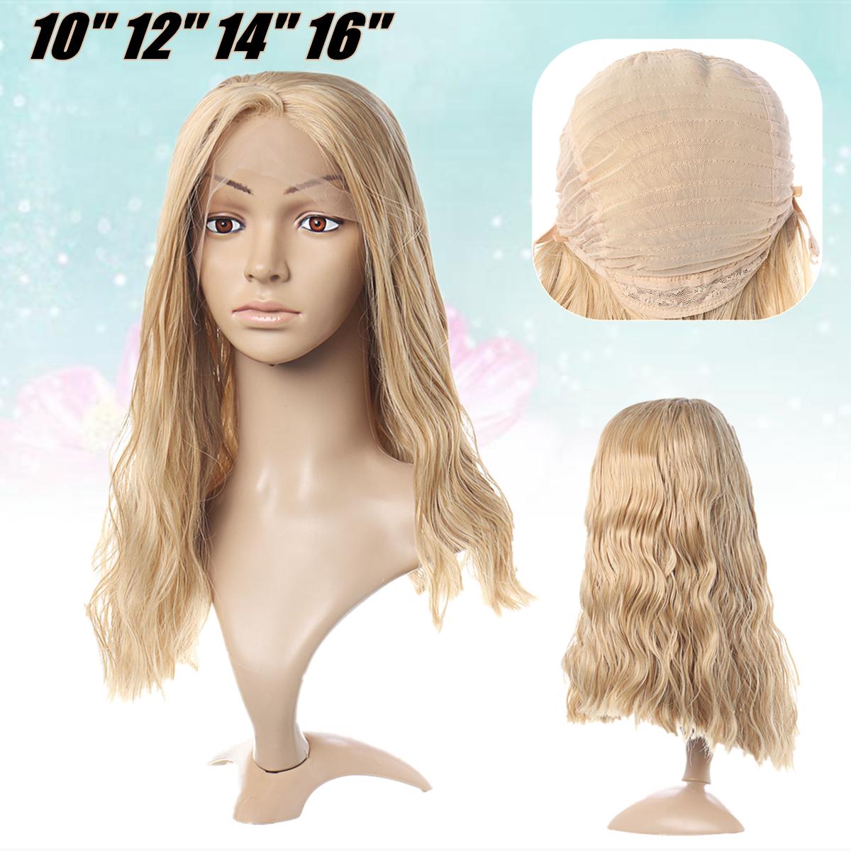 Женщины Дамы Полный Парик Длинные Волнистые Фронтальные Кружева Синтетические Волосы Микро Плотность