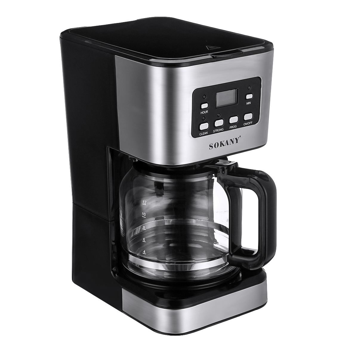 220V Coffee Maker 12 Cups 1.5L Semi-Automatic Espresso Making Machine Stainless Steel 11