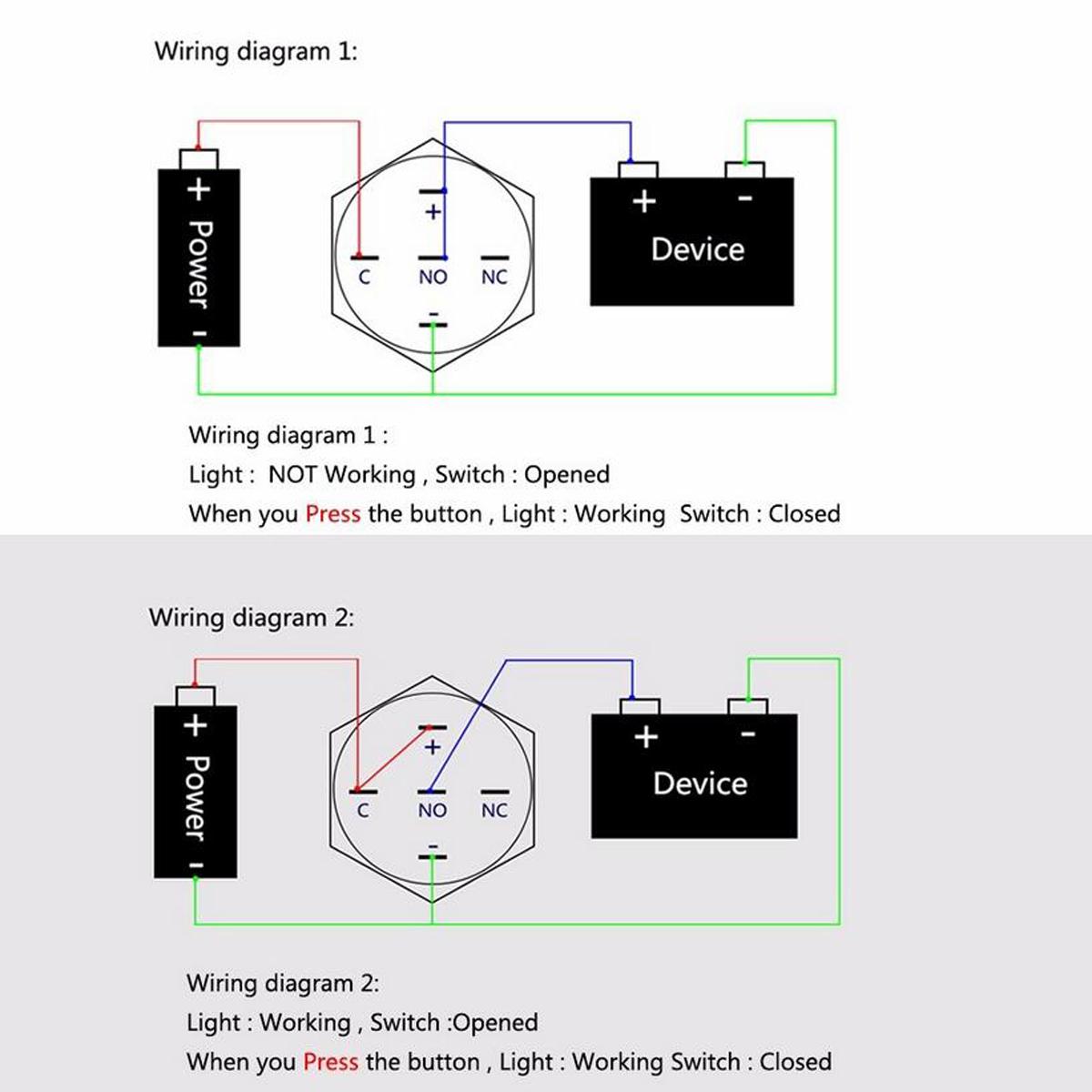Amazon Com New 12v 5a 12v 19mm Blue Led Momentary Push Manual Guide