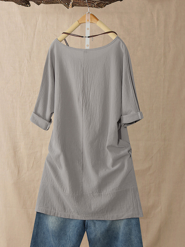 Casual 3/4 Sleeve Round Neck Solid Color Dress