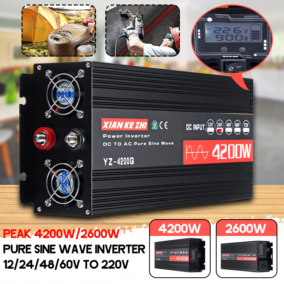 4200W/2600W LCD Display Pure Sine Wave Inverter 12/24/48/60V TO 220V Hpusehold Car USB High Power Inverter W/ 6 Protections Converter