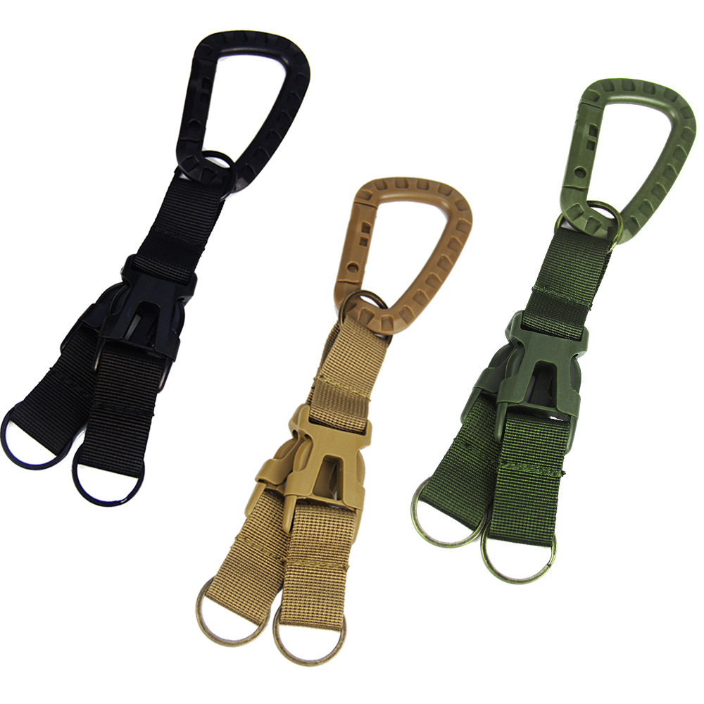 D Shape Tactical Buckle Climbing Buckle Carabiner Multifunctional Woven Key Chain Backpack Accessories