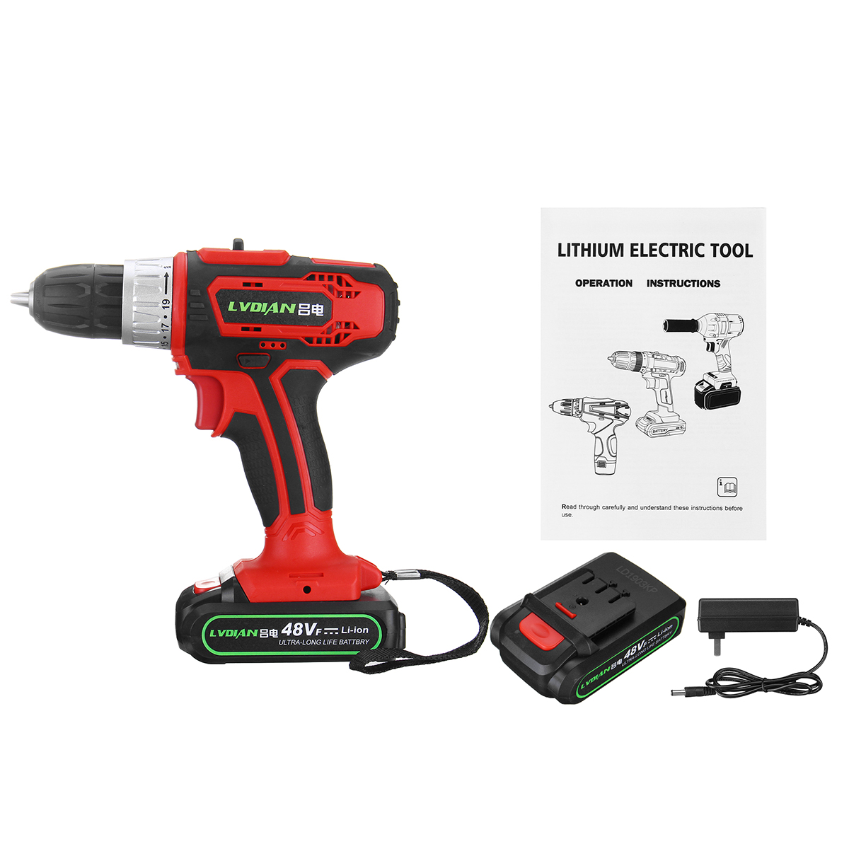 48V 2 Speed Cordless Electric Screwdriver Drill LED Rechargeable Waterproof Electric Power Dirver Drill With 2 Battery