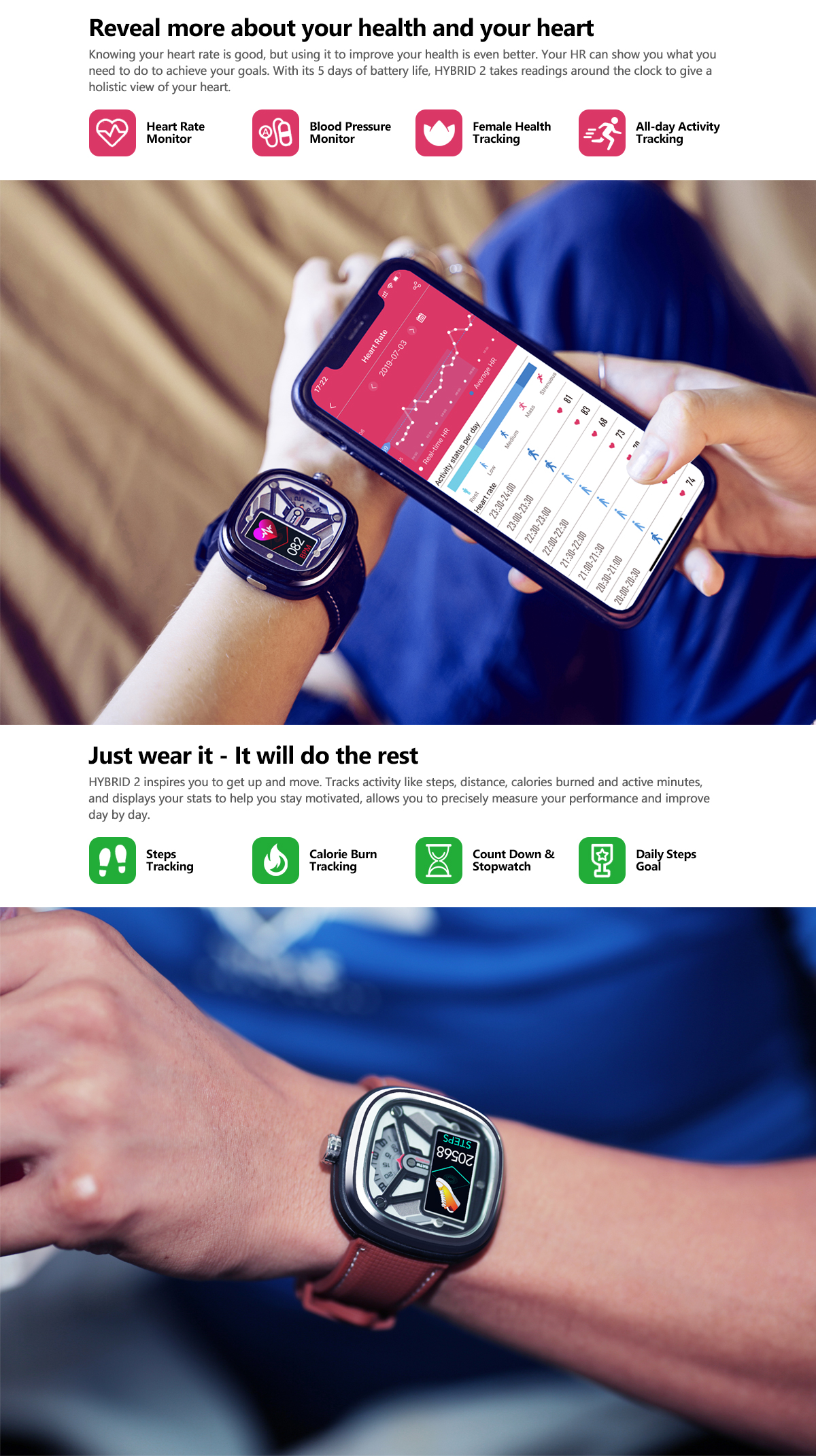 Zeblaze HYBRID 2 Absolute Toughness Heart Rate Blood Pressure Monitor Female Health Tracking All-day Activity Dual Modes Smart Watch 17