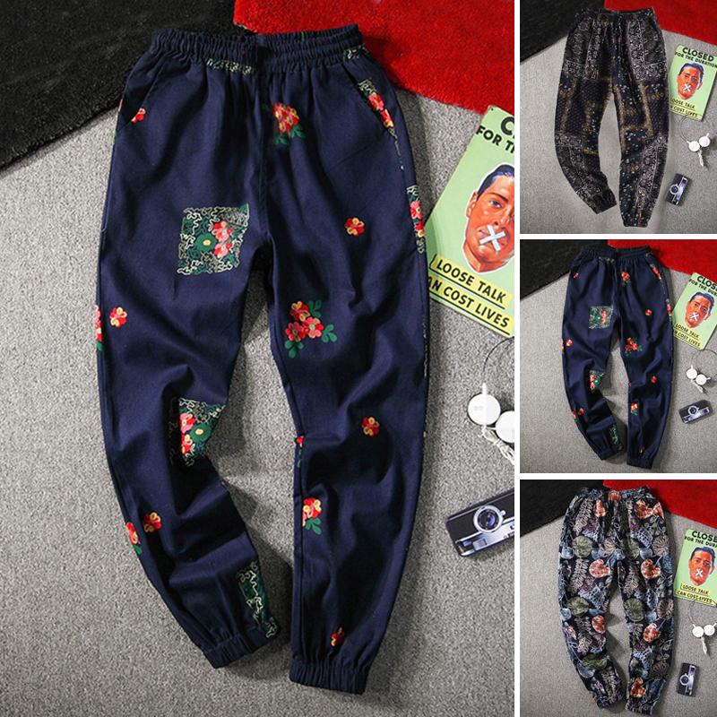 Boho Mens Этнические мешковатый гарем Брюки Yoga Свободные брюки с цветочным принтом Aladdin US