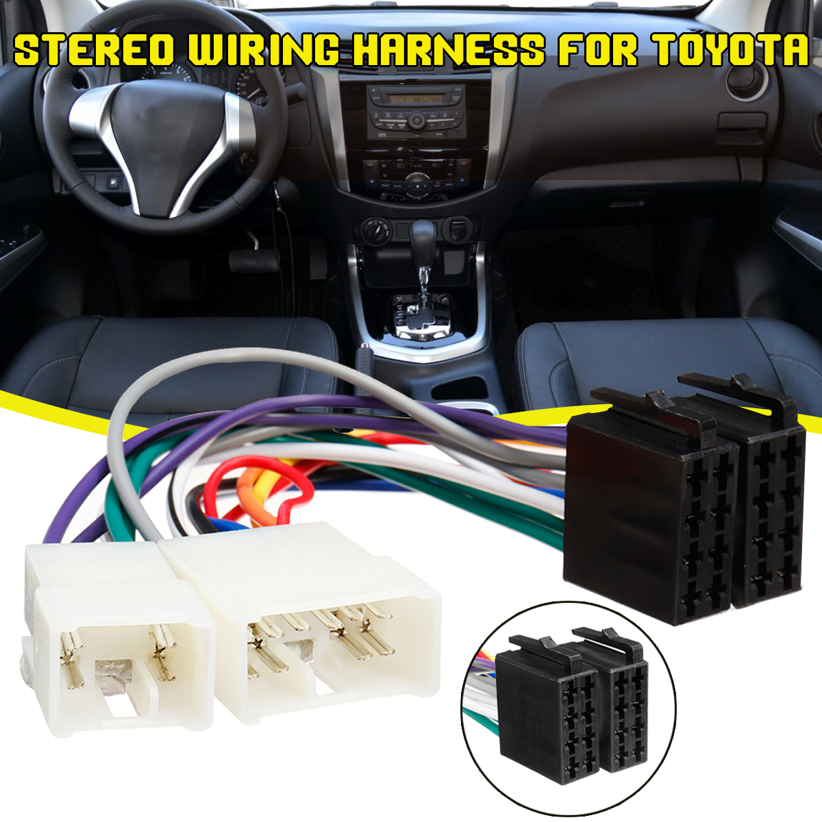 New ISO Wiring Harness Stereo Radio Plug Lead Wire Loom ... Toyota Stereo Wiring Harness Adapter on chevy trailblazer stereo harness adapters, radio harness adapters, car audio harness adapters, car stereo adapters, stereo wiring harness kit, stereo wiring harness color codes,