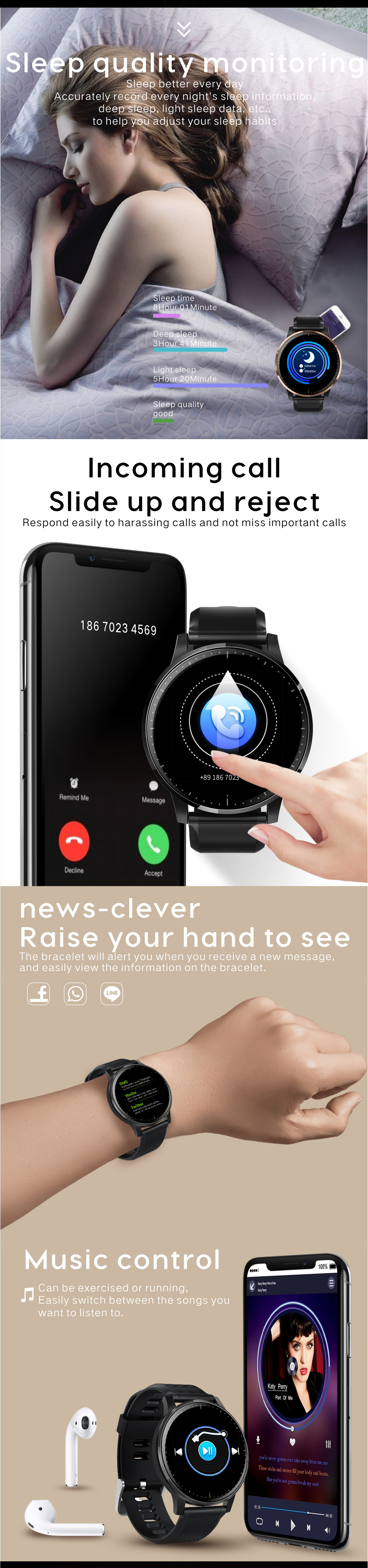 Bakeey Q20 Ultra-slim Full Touch 2.5D Screen All Day Heart Rate Fitness Tracker Reject Call Steel Smart Watch