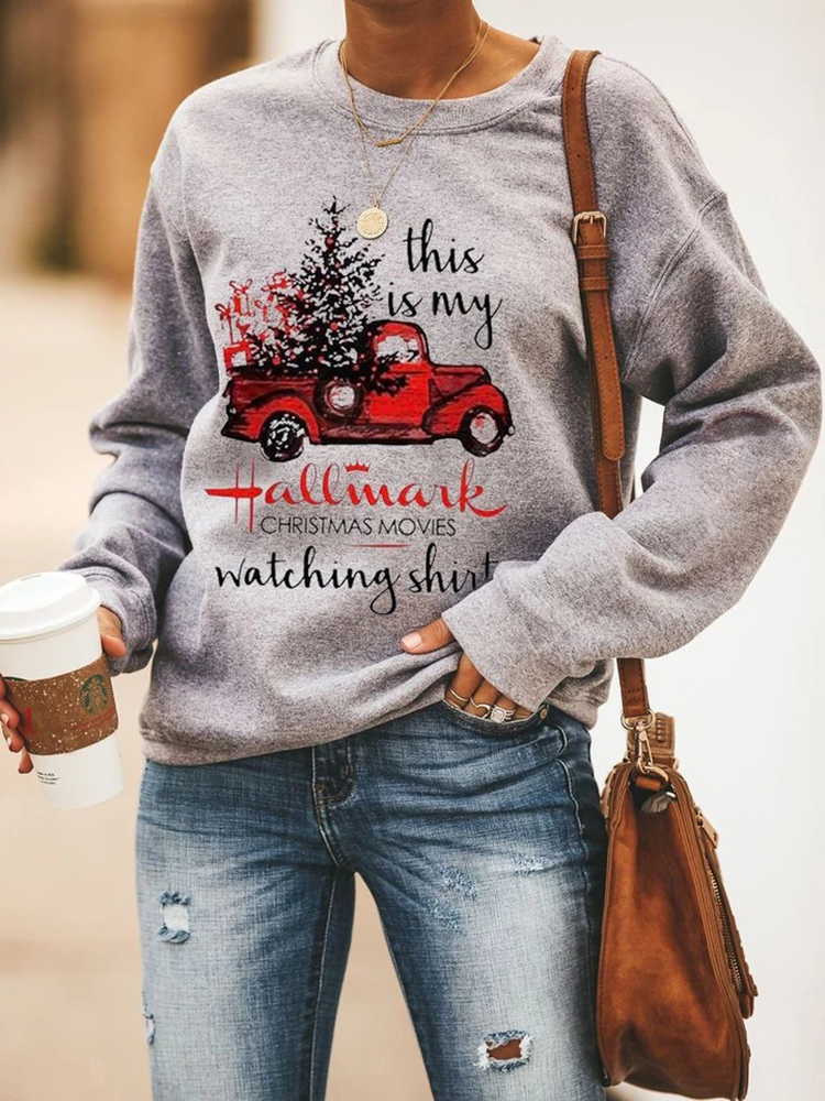 Women Christmas Pattern Print Cotton Basic Casual Sweatshirt