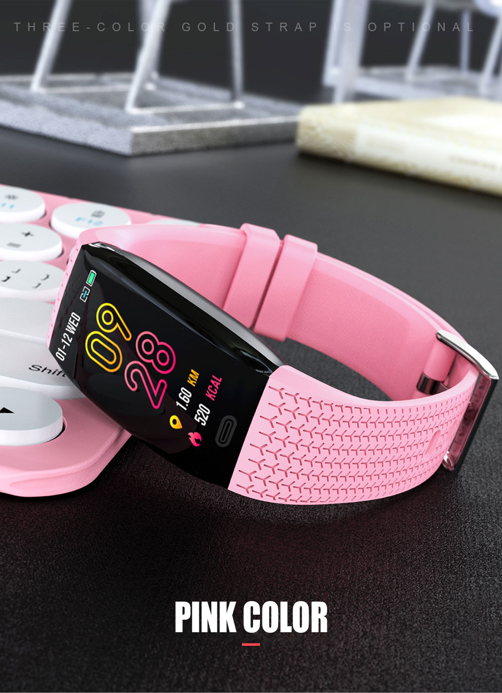 Bakeey S2 1.14' Big Screen Wristband Heart Rate Monitor Fitness Tracker USB Charger Smart Watch