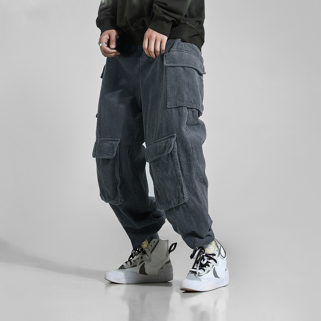 Mens Casual Loose Fit Comfy Multi Pockets Thick Pants