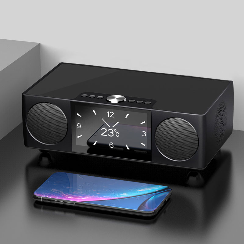 SOAIY S99 Wireless Bluetooth Speaker Play HD Video Double Alarm Clock FM Radio for Home Outdoor