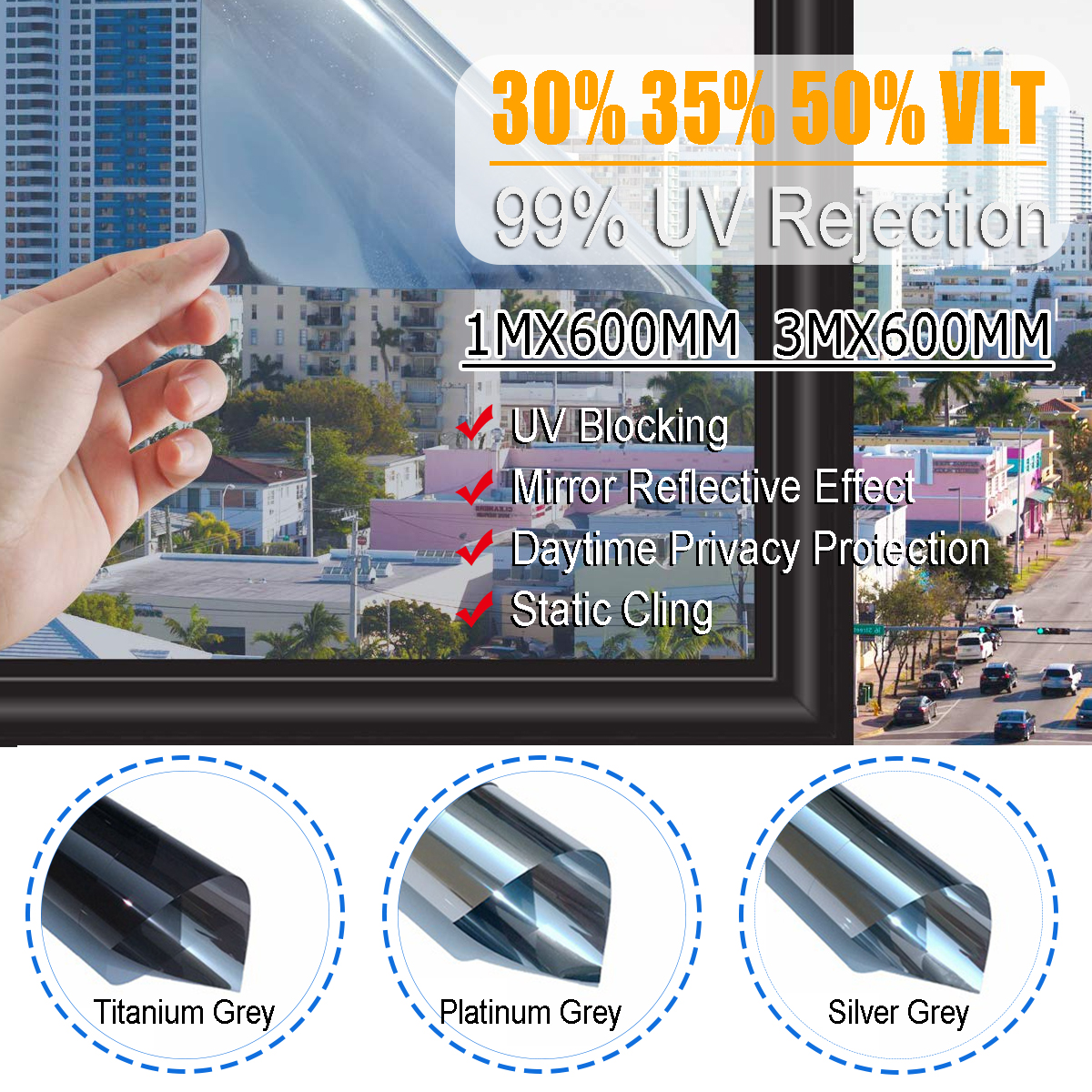 1M/3M Glass Window Film Heat-insulating Film Building Sunscreen Glass Tint Film UV Heat Reflective Sticker Protector
