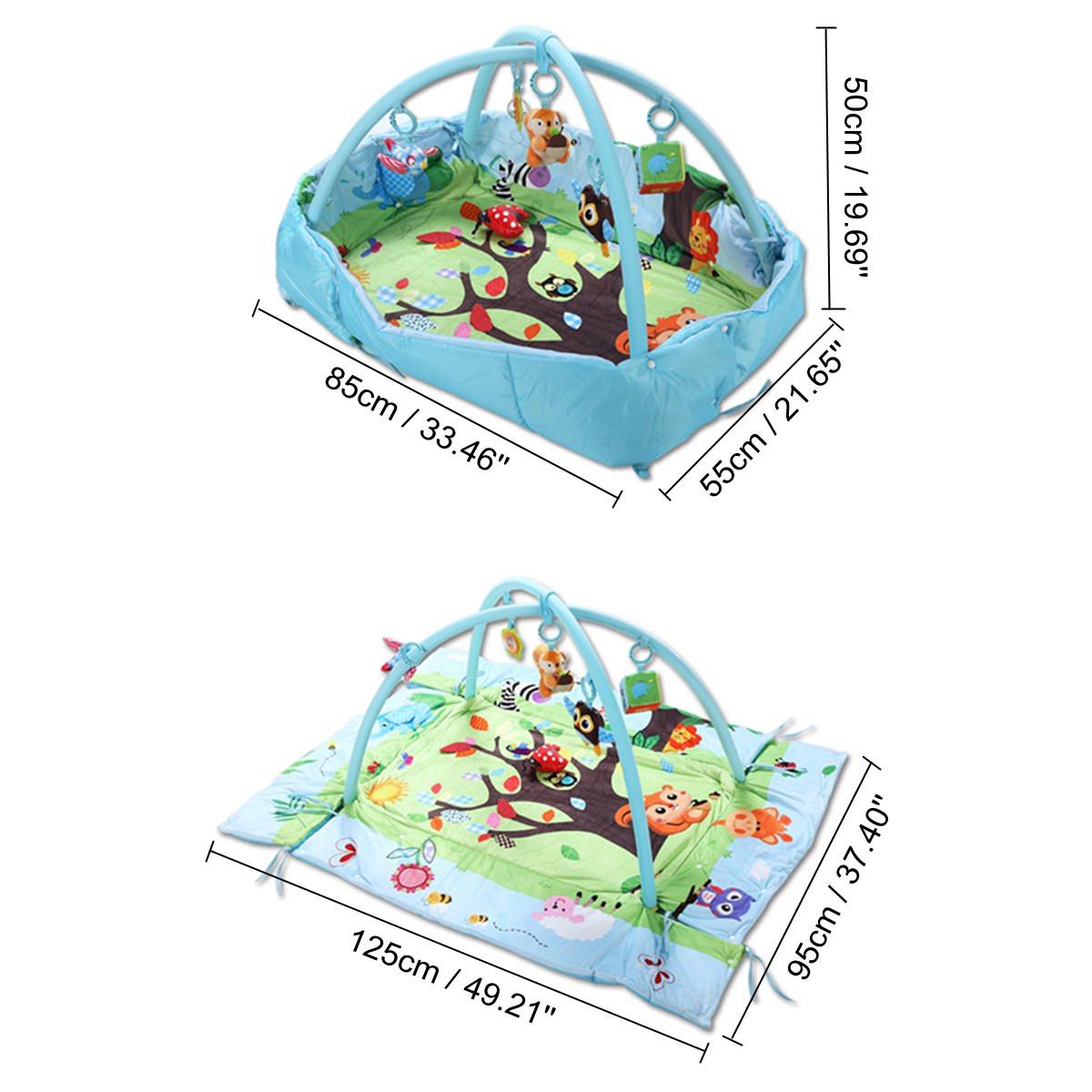 3 In 1 Baby Toys Mat Cartoon Soft Newborn Infant Kids Activity Gym Playspot Foam