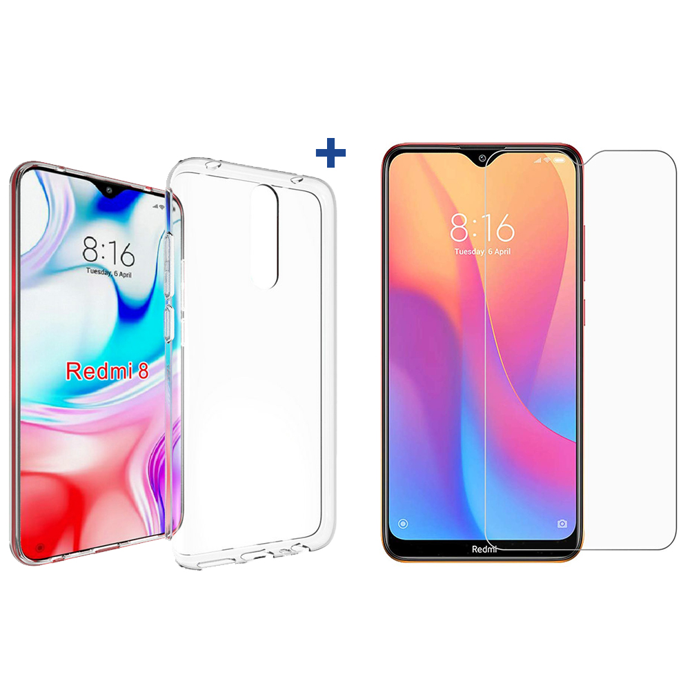 For Xiaomi Redmi 8 Case Bakeey HD Clear Anti-explosion Tempered Glass Screen Protector + Transparent TPU Protective Case