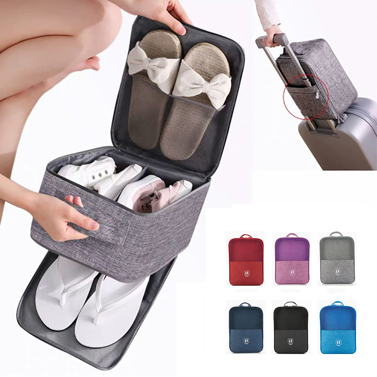 Waterproof Portable Trolley Travel Shoe Bag Pouch Luggage Laundry Organizer