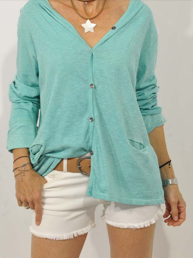Solid Color Hooded Button Sweatshirt With Pockets