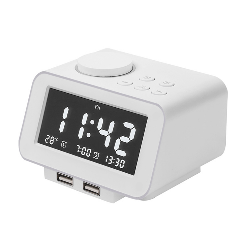 Multifunction Digital Electronic Alarm Clock Real-time Temperature FM Radio Snooze Mode with Dual USB Port