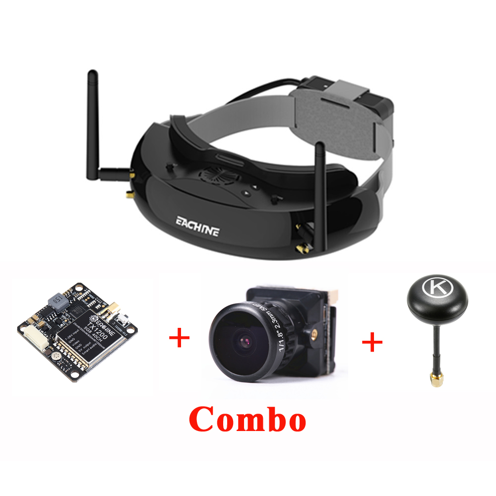 Eachine EV200D True Diversity FPV Goggles Black TX1200 FPV Transmitter Bat 19S FPV Camera 2.3mm Eachine K-Loverleaves Antenna RP-SMA Combo